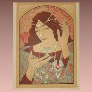 SALE:Original French L'Estampe Moderne Lithograph 'Invocation a la Madonna' 1897 Signed Lenoir. Art Nouveau era Rare.