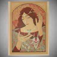 SALE: French L'Estampe Moderne Lithograph 'Invocation a la Madonna' 1897 Signed Lenoir. Art Nouveau era Rare.