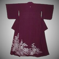 Purple Silk Tomesode Kimono with Blossoms, Birds and Wisteria Family Crest.