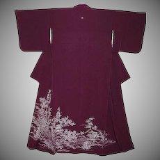 Purple Silk Tomesode Kimono with Blossoms, Birds and Wisteria Family Crest.