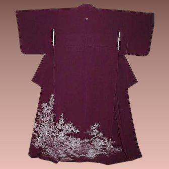 Antique Purple Silk Tomesode Kimono with Blossoms, Birds and Wisteria Family Crest.