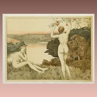 SALE: Original French Signed Nude Lithograph 'Automne Nue' L'Estampe Moderne series 1897 Rare