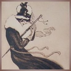 Art Deco Signed Sepia Heliogravure 1920 by German Artist Max Bruning.