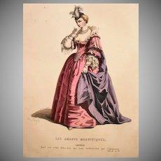 SALE: French Theatrical Engraving 'Les Amants Magnifique' c1850 Antique