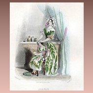 SALE: Original French Grandville Engraving 'Jasmin' 1847 from Les Fleurs Animees.