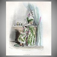 SALE: Grandville Engraving 'Jasmin' 1847 from Les Fleurs Animees.