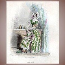 Original Grandville Engraving 'Jasmin' 1847 from Les Fleurs Animees.