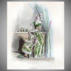 SALE: Grandville Engraving 'Jasmin' 1847 from Les Fleurs Animees.