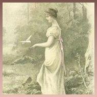 Antique English UB 'Lady with Dove' Postcard 1903