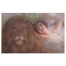 Italian Art Deco Corbella 'Girl with Lion' Postcard.