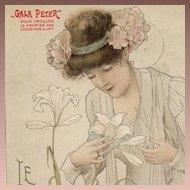 SALE: Art Nouveau French 'Gala Peter' Advertising Postcard 'Le Lys' c1900.