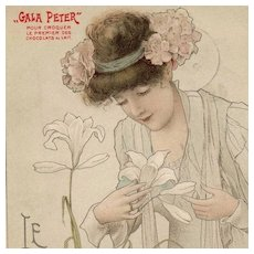 French Advertising 'Gala Peter' Postcard 'Le Lys' c1900. by Toussaint