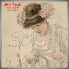 SALE: French 'Gala Peter' Advertising Postcard 'Le Lys' c1900. by Toussaint