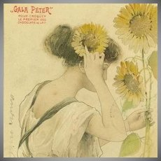 SALE: French 'Gala Peter' Advertising Postcard 'Le Soleil'  Sunflower 1904. Toussaint