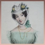 SALE: Early 19th Century Hand Colored Engraving 'A Wife' 1828. Exquisite