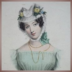 Antique Hand Colored Engraving 'A Wife' 1828. Exquisite