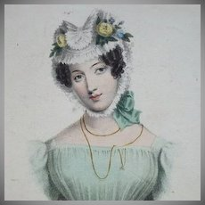 SALE: 19th Century Hand Colored Engraving 'A Wife' 1828. Exquisite