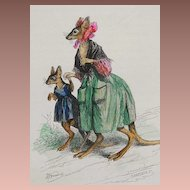 SALE: Hand Colored Signed Grandville French Caricature Engraving 'Maman Kangourou' 1842. Very Rare.