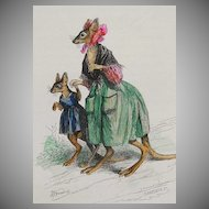 SALE: Rare Grandville Signed 'Maman Kangourou' French Engraving Hand Colored 1842.