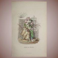 Grandville Original French  Engraving 'Fleur de Pecher' by Grandville 1852.