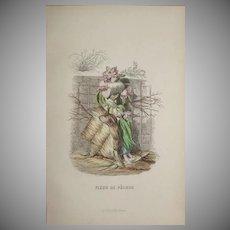 SALE:  Grandville French  Engraving 'Fleur de Pecher' by Grandville 1852.