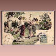 French Art Nouveau UB Vienne Postcard 1905.