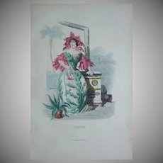 SALE:  Grandville Engraving 'Cactus' from Les Fleurs Animees..1852.