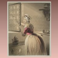 SALE: Original Pastel Shaded German Steel Engraving 'The Consent' c1860..Exquisite.
