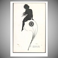 Signed Silhouette 'Naked Girl and Peacock Feather' German Postcard 1911.