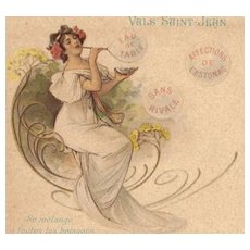 SALE: PAIR French 'Vals Mineral Water' Advertising Postcards 1902 Art Nouveau era