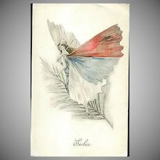 SALE: French Butterfly Lady Patriotic Postcard 'Serbie' 1914-18
