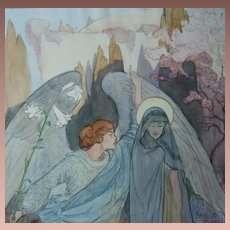 SALE: Original  Painting Water Color and Ink  'The Annunciation'  1918. Signed von Schlogl.