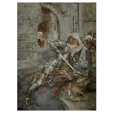 SALE: Arthur Rackham Illustrated 'The Romance of King Arthur' 1917.