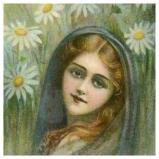 SALE: Language of Flowers 'Marguerite' Postcard Art Nouveau