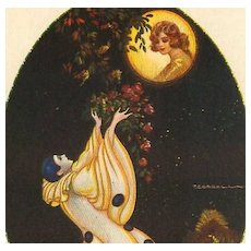 Art Deco Signed Italian 'Pierrot and the Moon' Postcard. - Red Tag Sale Item