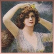 FIVE Art Nouveau Artist Signed 'Artistique Nymph' Postcards.