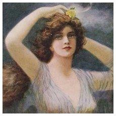 FIVE Art Nouveau Artist Signed 'Artistique Nymph' Postcards.