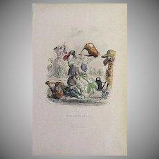 SALE: Grandville Engraving 'Pois de Senteur' 1867 from Les Fleurs Animees.