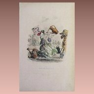 SALE: Grandville Victorian Engraving 'Pois de Senteur' 1867 from Les Fleurs Animees.