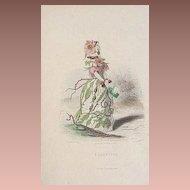 SALE: Grandville Victorian Engraving 'Eglantine' 1867 from Les Fleurs Animees.