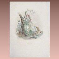 SALE: Grandville Victorian Engraving 'Verveine' 1867 from Les Fleurs Animees.
