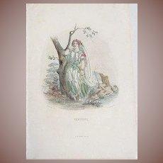 Grandville Engraving 'Verveine' 1867 from Les Fleurs Animees.
