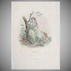 SALE: Grandville Engraving 'Verveine' 1867 from Les Fleurs Animees.