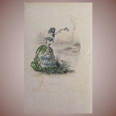 Grandville Original Engraving 'Forget Me Not' 1867 from Les Fleurs Animees.