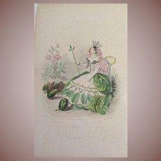 Grandville Original Engraving 'Rose' 1867 from Les Fleurs Animees. Signed.