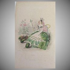 SALE: Grandville Engraving 'Rose' 1867 from Les Fleurs Animees. Signed.