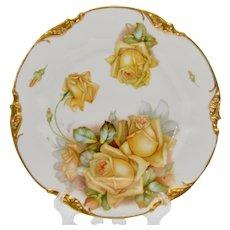 """Circa 1902 Erdmann Schlegelmilch ES Germany Yellow Roses Plate 8 5/8"""" Wide"""