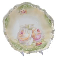 """Circa 1910 Reinhold Schlegelmilch RS Germany Pink and Peach Roses Serving Bowl (10 13/16"""" wide x 2 5/16"""" tall)"""