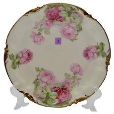 Circa 1900 Erdmann Schlegelmilch ES Prussia Pink Roses Dessert Set (Cake Plate & 5 Serving Plates)