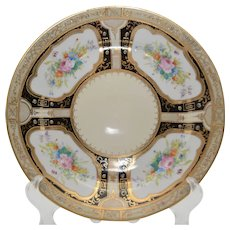 "Circa 1910 Japanese Noritake – Morimura Brothers Black with Pastel Floral and Gold Quadrants Cake Plate (10 ½"" Wide)"